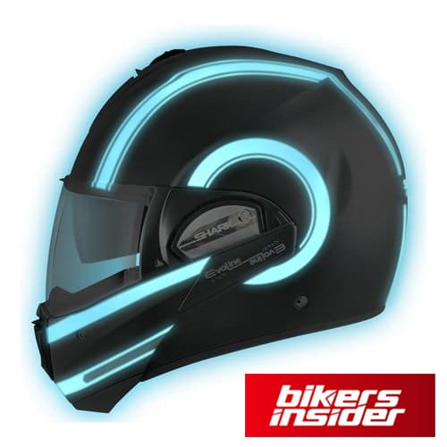 Shark Evoline 3 helmet with LED wraps is certainly a cool choice.