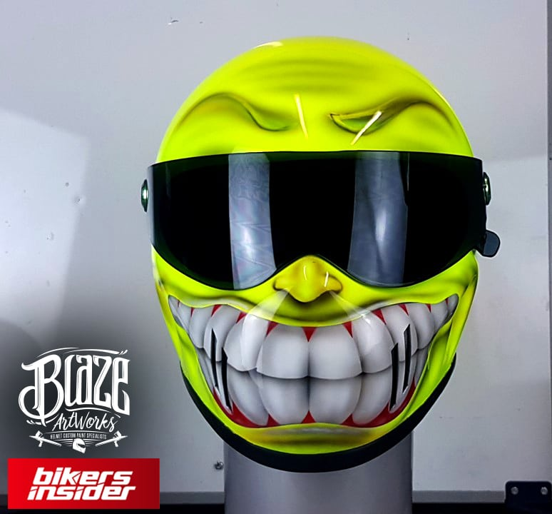 Smiley Face Custom Airbrushed Helmet is sure to attract some smiles.