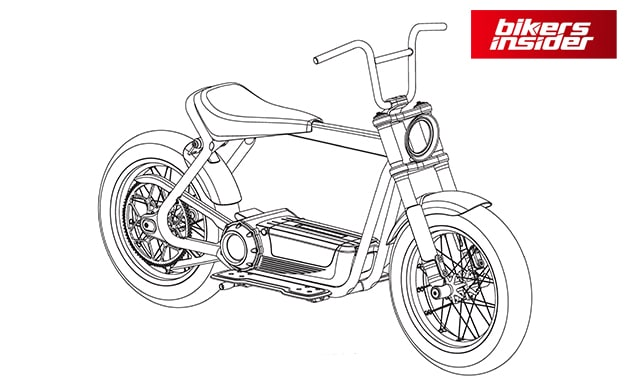 A design drawing for an electric scooter prototype.