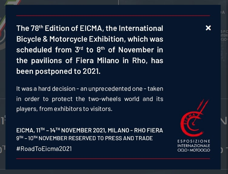 EICMA 2020 Is Delayed To 2021!