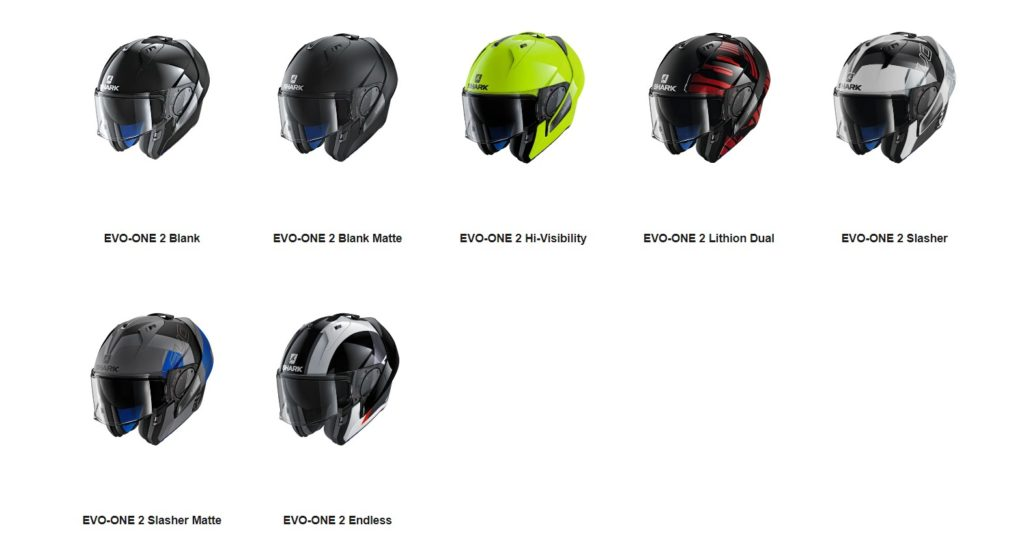 Here are all the available models of the Shark Evo-One 2 modular helmet!