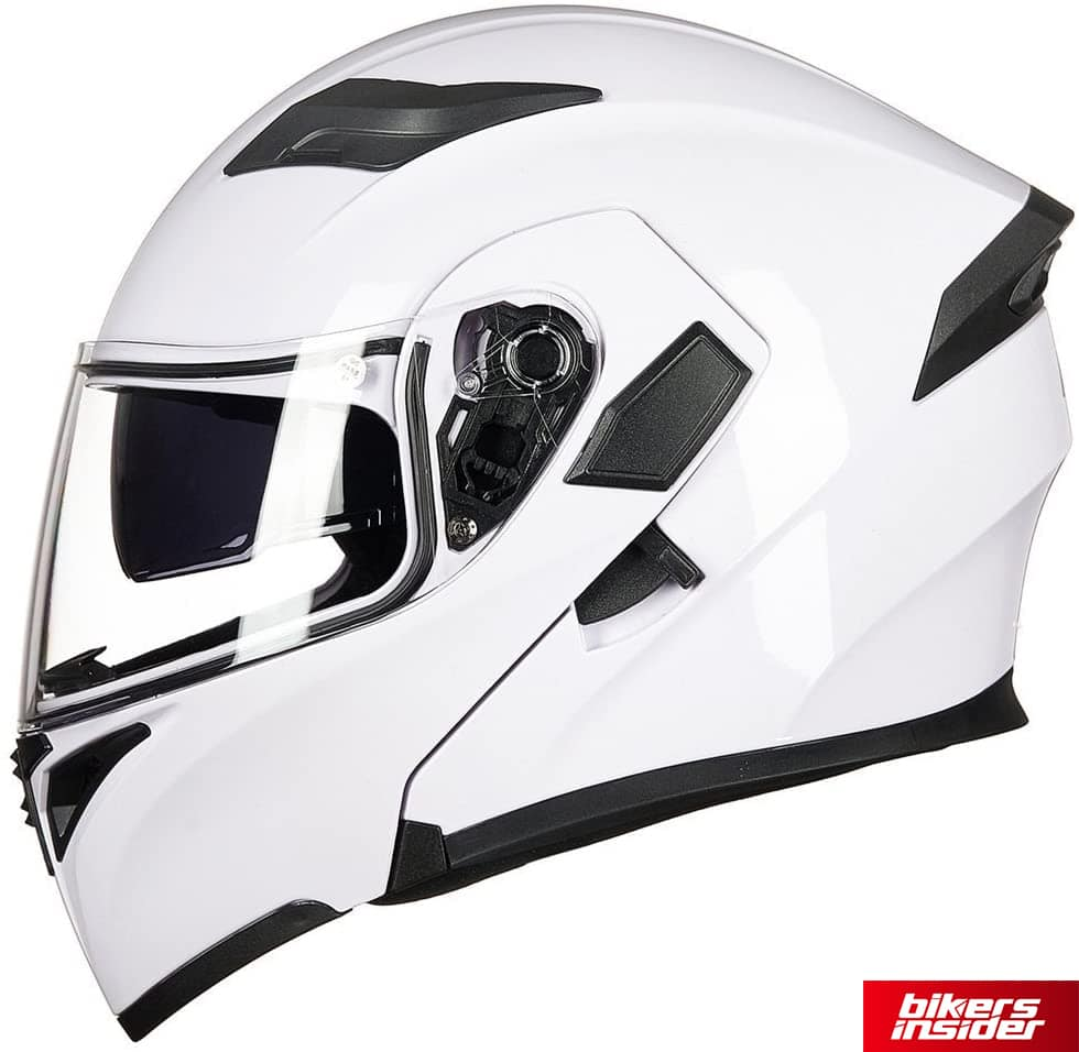 The sun visor toggle and face shield screw on the side of the ILM modular helmet.