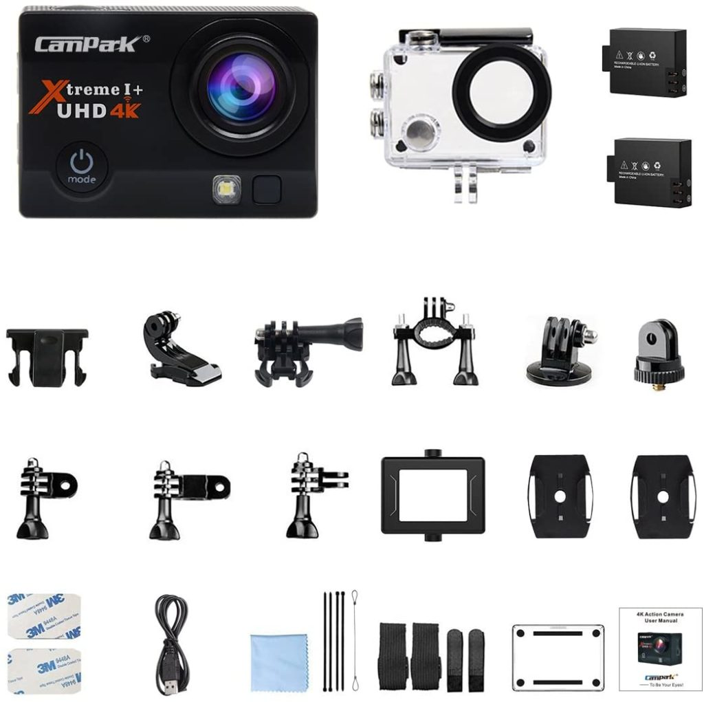 You get quite a generous amount of accessories with the Campark ACT74 action camera.