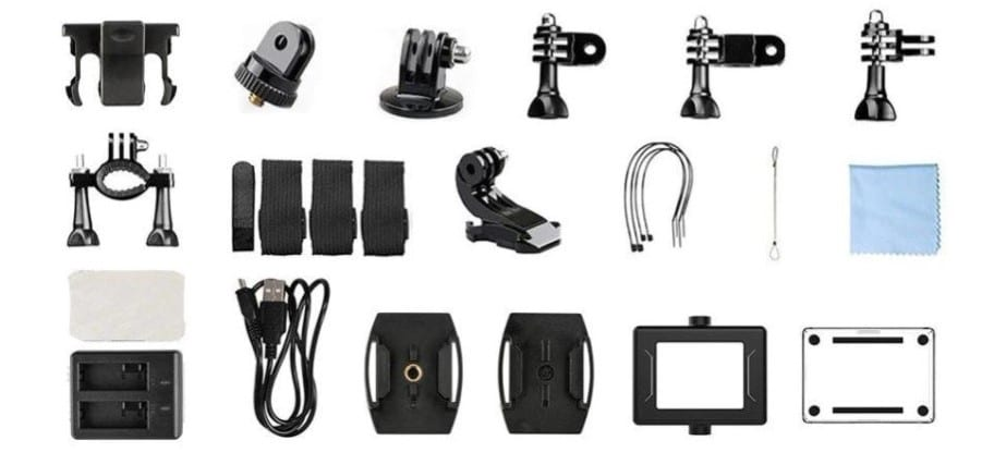 Akaso Brave 4 comes with tons of accessories!