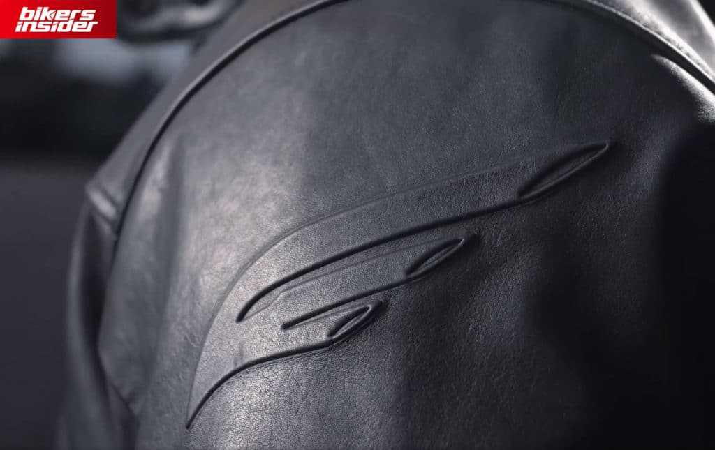 The top sleeve of the EngineHawk jacket, with the logo in focus.
