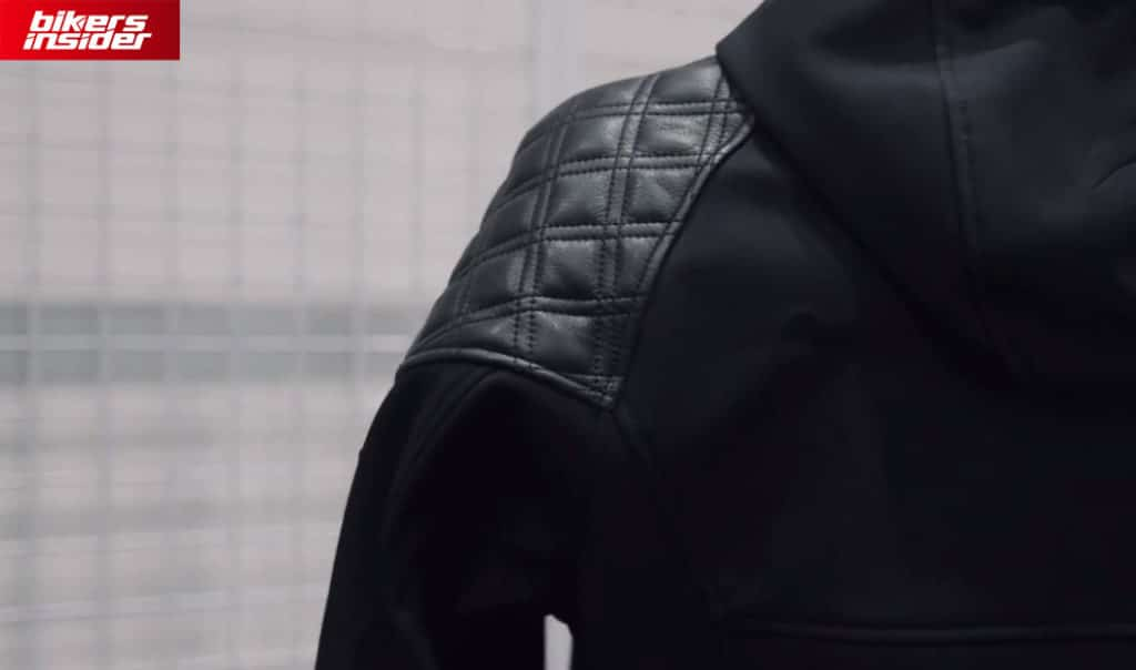 The quilted leather on the shoulder greatly helps with fitting your arms in the Predator jacket.