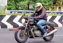The spy shot of the Royal Enfield Continental GT 650 in action.