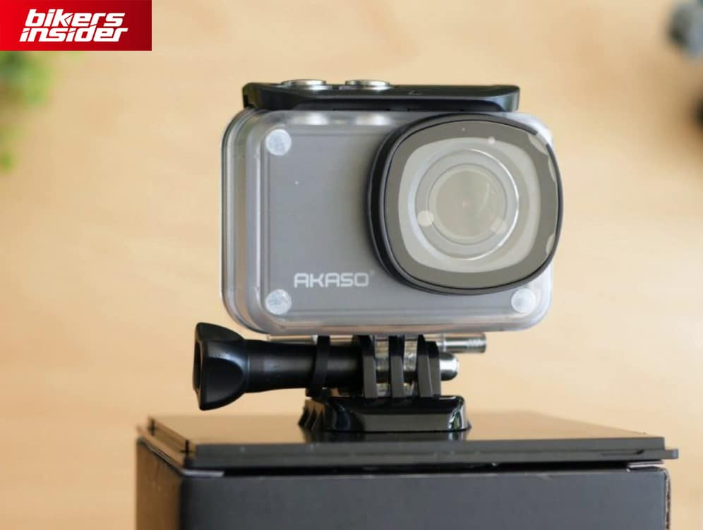 Akaso V50 Pro with the waterproof case on.
