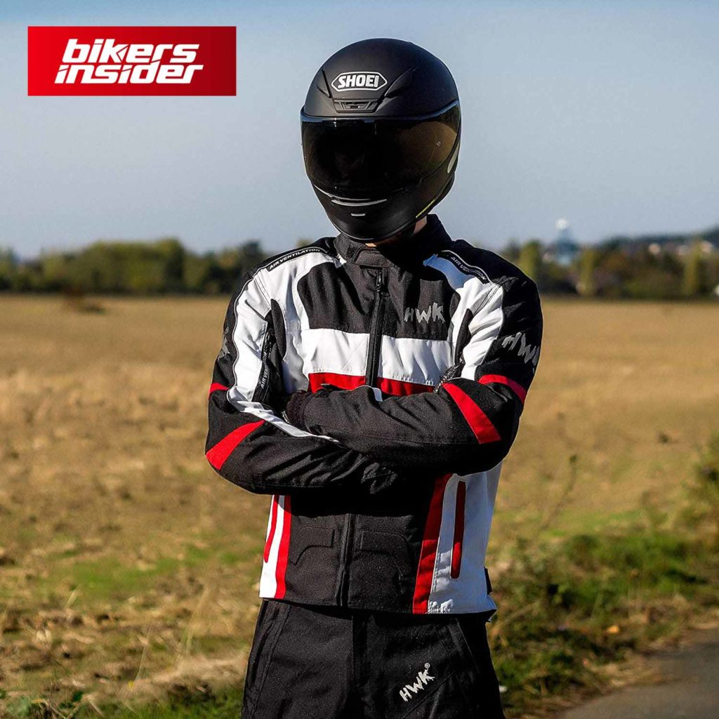HHR textile motorcycle jacket fits pretty well on most riders.