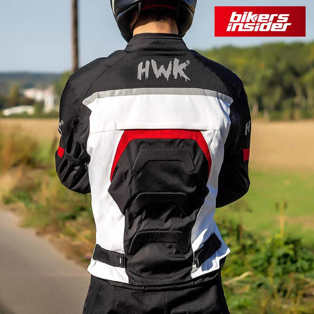 HHR textile motorcycle jacket features removable armors on elbows, shoulders, and the back.