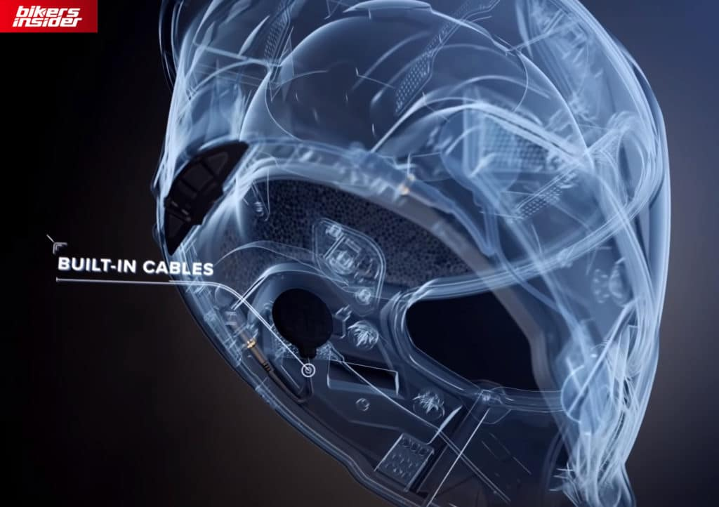 The built-in cables on the Ruroc Atlas 3 helmet.