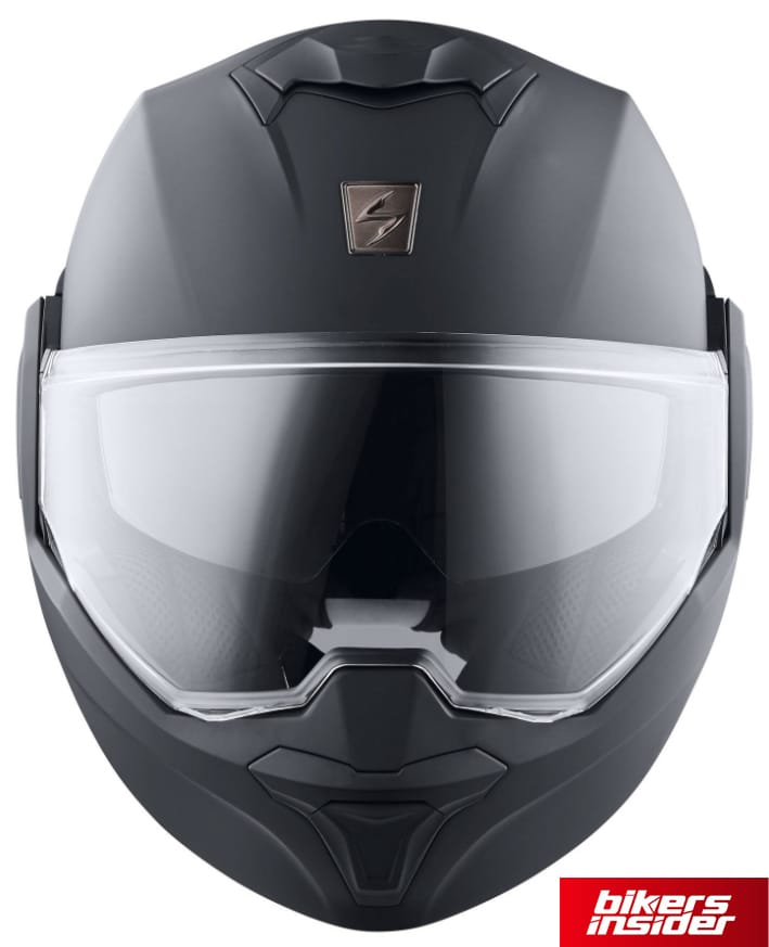 The clear face shield on the Scorpion EXO Tech.
