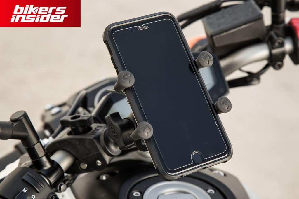 Phone mount is an extra useful motorcycle accessory.