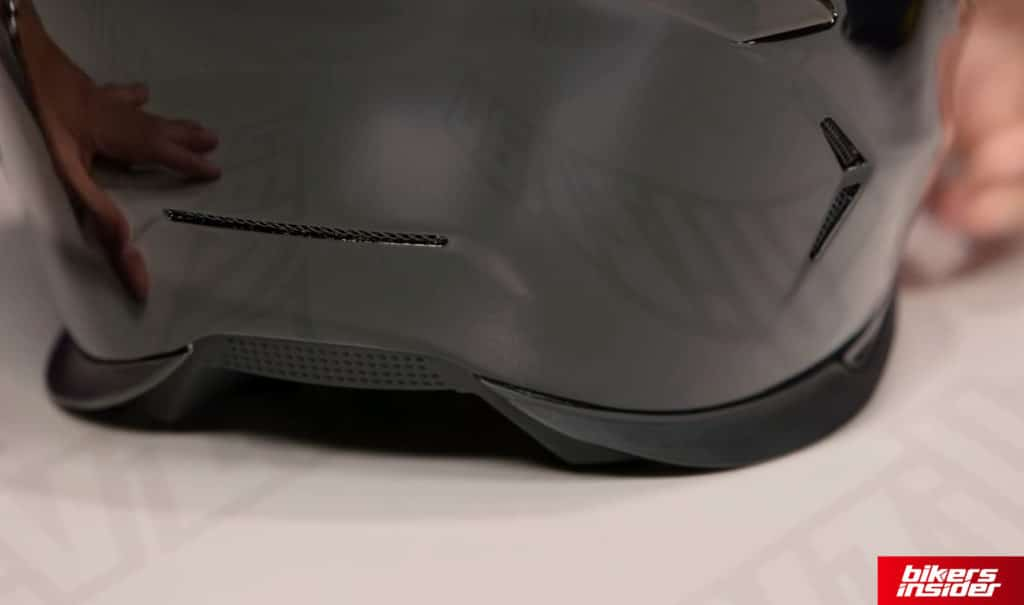 Icon Airframe Pro has a cutaway on the back to further improve the aerodynamics of the helmet.