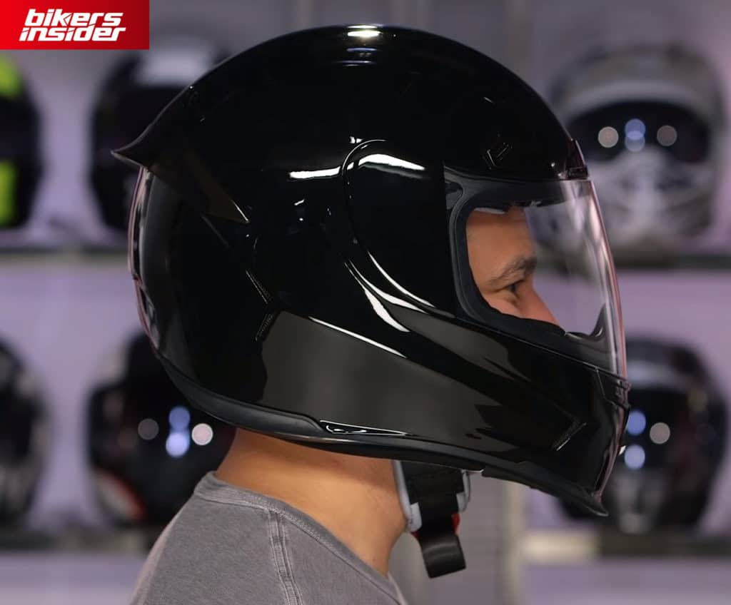The fiberglass construction of the Icon Airframe Pro helmet has an aggressive design that turns heads for sure!